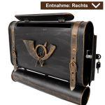 Briefkasten alter Koffer mit Posthorn im Antik-Look - Schwarz-Gold Rechts