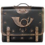 Briefkasten alter Ranzen mit Posthorn im Antik-Look - Schwarz-Gold