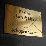 Namensschild Türschild Briefkasten mit Gravur im Antik-Look Briefumschlag Gold / Bronze