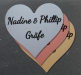 Namensschild Türschild Briefkasten Schild mit Gravur im Antik-Look Herz