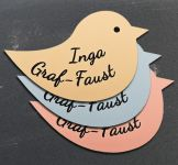 Namensschild Türschild Briefkasten Schild mit Gravur im Antik-Look Vogel