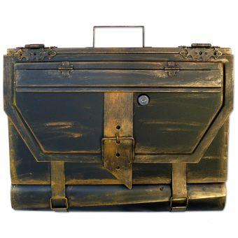 Briefkasten alte Aktentasche im Antik-Look in Schwarz-Gold