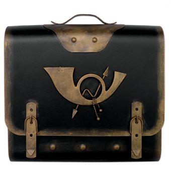 Briefkasten alter Schulranzen mit Posthorn - Schwarz-Gold