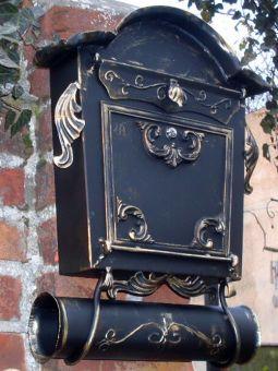Briefkasten Nostalgie - Handarbeit- im Antik-Look - Schwarz-Gold