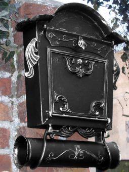Briefkasten Nostalgie - Handarbeit- im Antik-Look - Schwarz-Silber