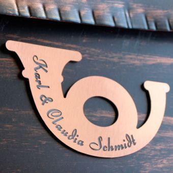 Namensschild Türschild Briefkasten Schild mit Gravur im Antik-Look Posthorn Kupfer