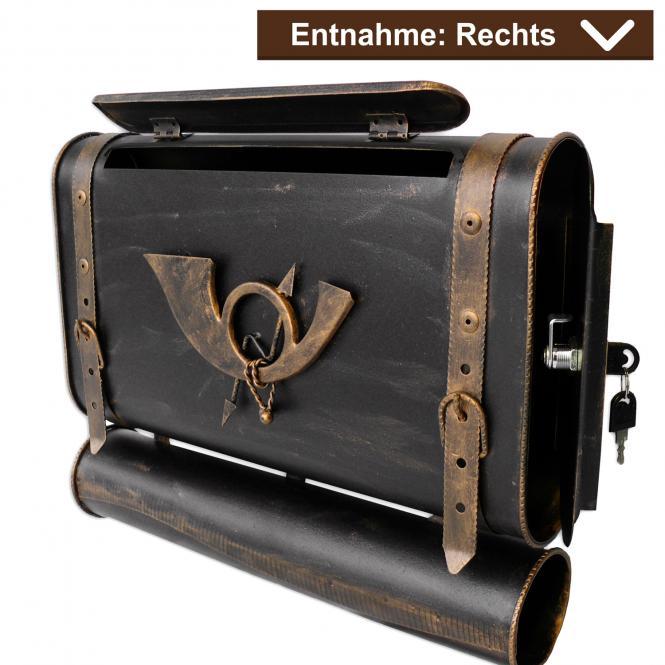 Briefkasten alter Koffer mit Posthorn im Antik-Look - Schwarz-Gold - Rechts