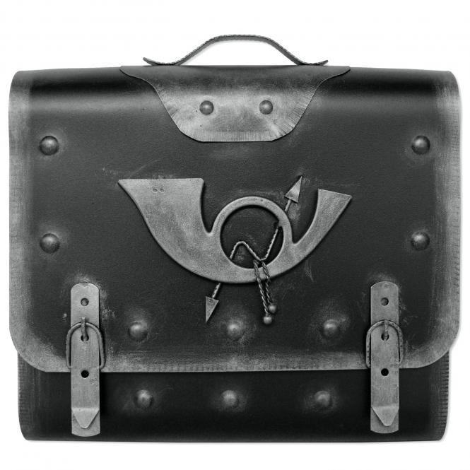 Briefkasten alter Ranzen mit Posthorn im Antik-Look - Schwarz-Silber