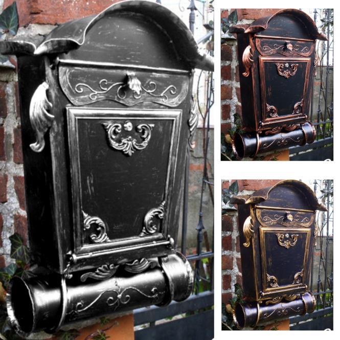 Briefkasten Nostalgie-XL -Handarbeit- im Antik-Look - Schwarz-Silber