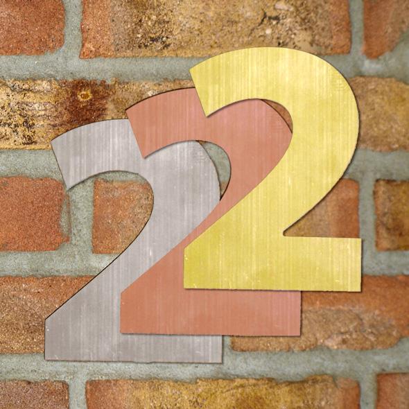 Hausnummer klein - Türschild Briefkasten Schild mit Gravur im Antik-Look - 6cm