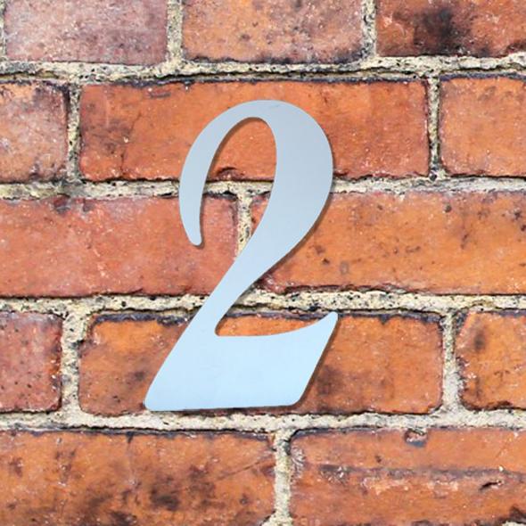 Hausnummer groß - Türschild Briefkasten Schild mit Gravur im Antik-Look - 16cm - Silber / Edelstahl