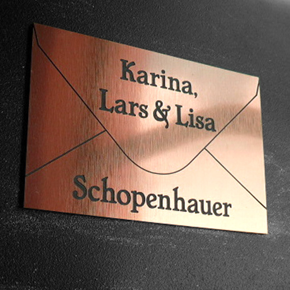 Namensschild Türschild Briefkasten mit Gravur im Antik-Look Briefumschlag - Kupfer