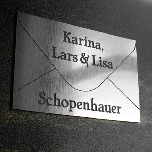 Namensschild Türschild Briefkasten mit Gravur im Antik-Look Briefumschlag Silber / Edelstahl