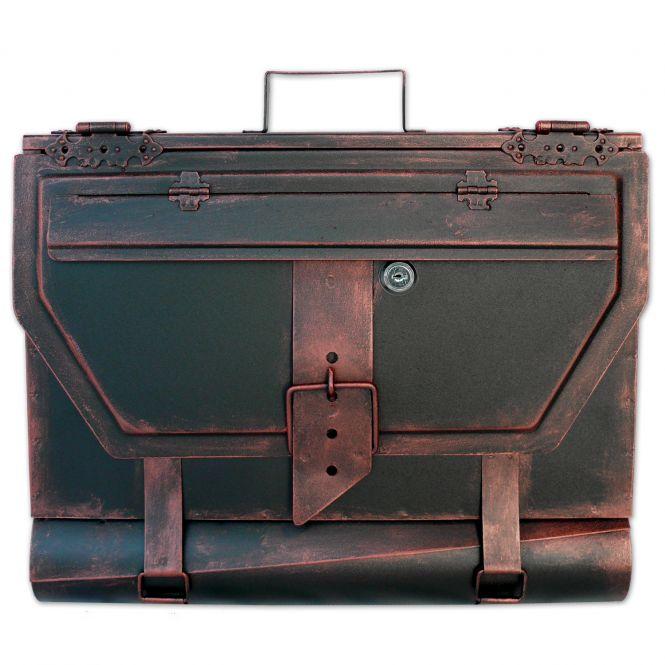 Briefkasten alte Aktentasche im Antik-Look in Schwarz-Kupfer