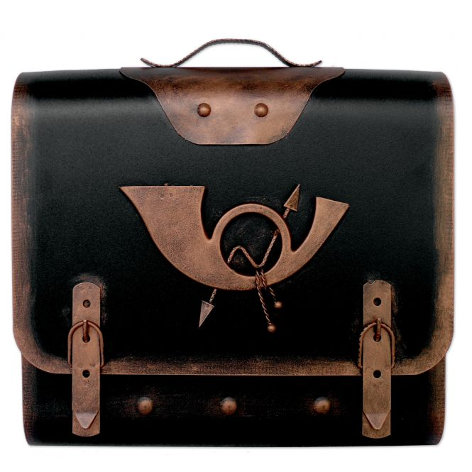 Briefkasten alter Schulranzen mit Posthorn - Schwarz-Kupfer