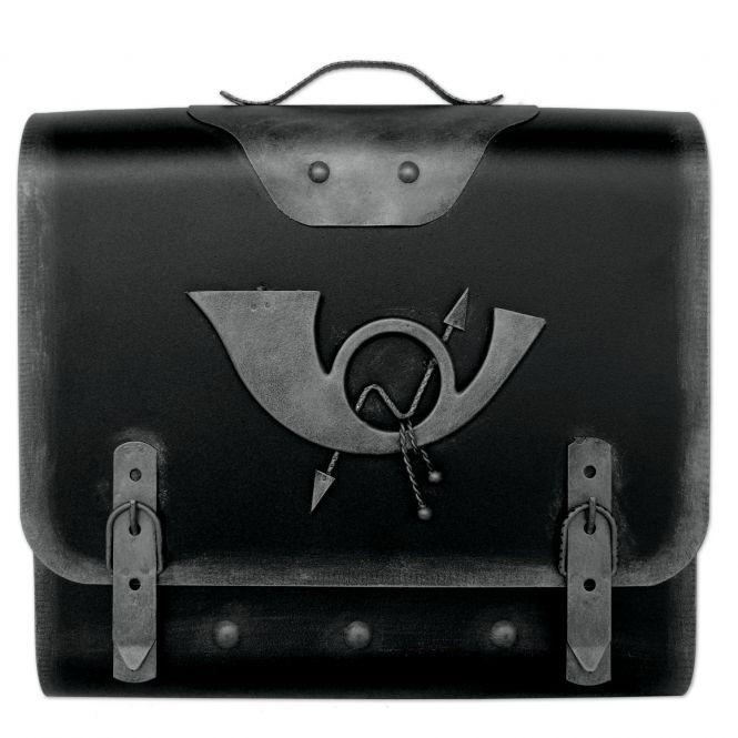 Briefkasten alter Schulranzen mit Posthorn - Schwarz-Silber