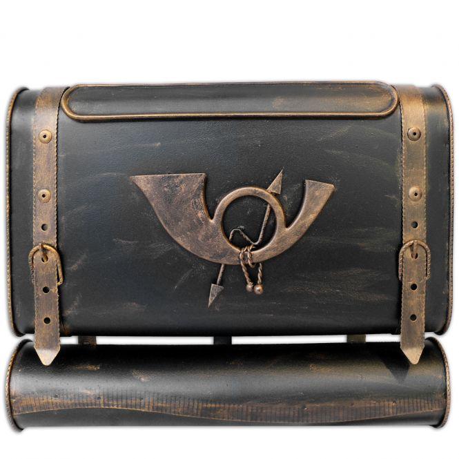 Briefkasten alter Koffer mit Posthorn im Antik-Look - Schwarz-Gold