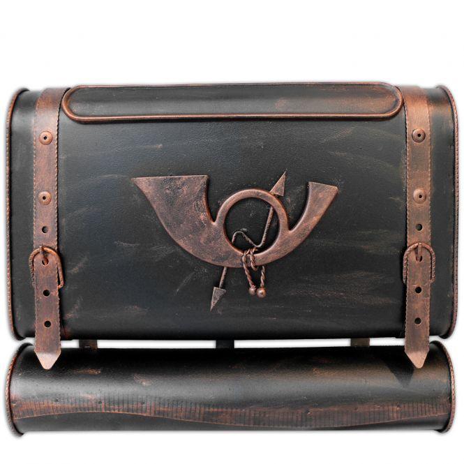 Briefkasten alter Koffer mit Posthorn im Antik-Look - Schwarz-Kupfer