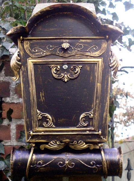 Briefkasten Nostalgie-XL -Handarbeit- im Antik-Look - Schwarz-Gold