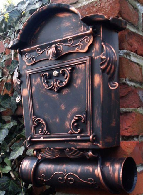Briefkasten Nostalgie - Handarbeit- im Antik-Look - Schwarz-Kupfer