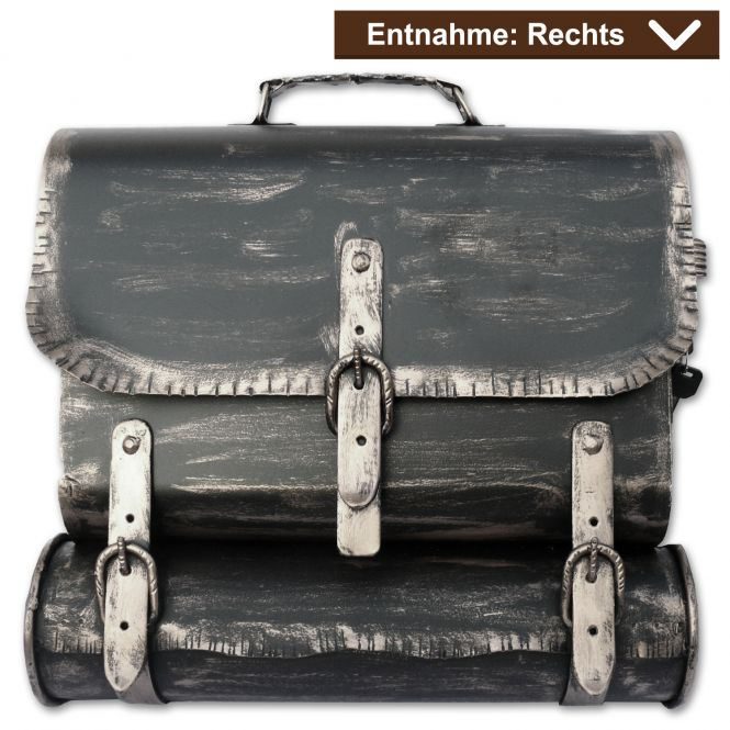Briefkasten - Ranzen - Alte Ledertasche im Antik-Look in Schwarz-Silber Rechts