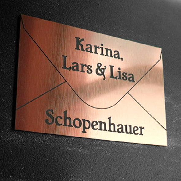 Namensschild Türschild Briefkasten mit Gravur im Antik-Look Briefumschlag Kupfer