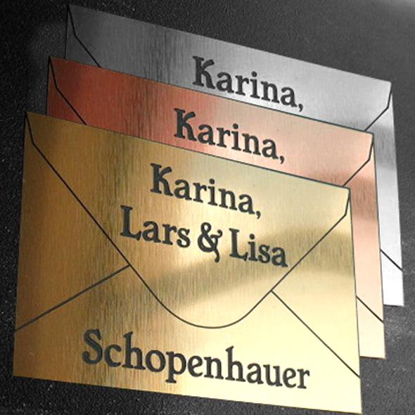Namensschild Türschild Briefkasten mit Gravur im Antik-Look Briefumschlag