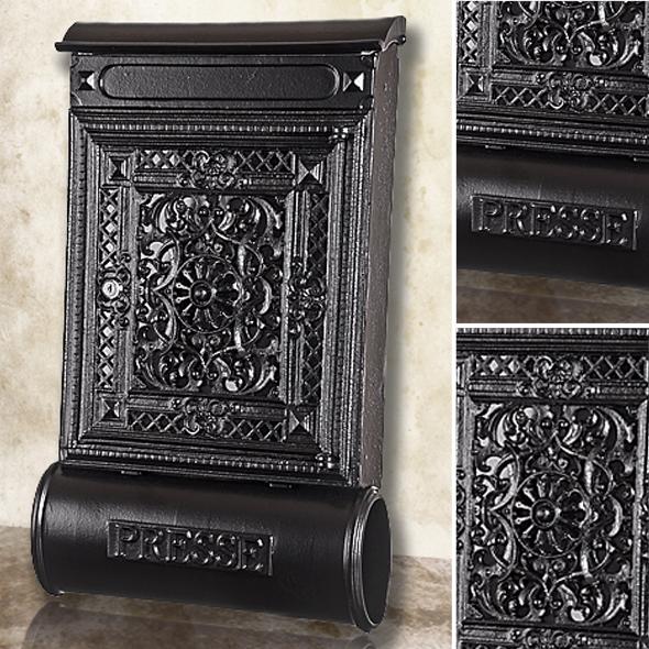 briefkasten versandshop briefkasten antik alu sandguss schwarz wandbriefk sten im antik. Black Bedroom Furniture Sets. Home Design Ideas