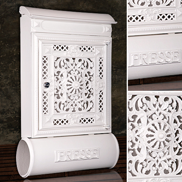 briefkasten versandshop briefkasten antik alu sandguss wei wandbriefk sten im antik look. Black Bedroom Furniture Sets. Home Design Ideas