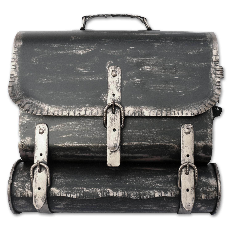 briefkasten versandshop briefkasten ranzen alte ledertasche im antik look in schwarz. Black Bedroom Furniture Sets. Home Design Ideas