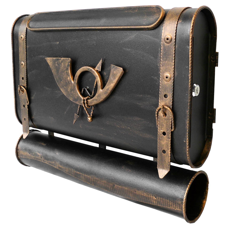 briefkasten versandshop briefkasten alter koffer mit posthorn im antik look schwarz gold. Black Bedroom Furniture Sets. Home Design Ideas
